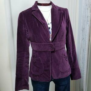 BB Dakota Velvet Tab Pocket Jacket Blazer Plum S